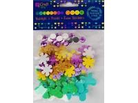 Samolepky dekorační květiny, motýli, krystaly DP