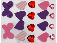 Samolepky dekorační pěnové a kamínky srdce a motýl 2 DP