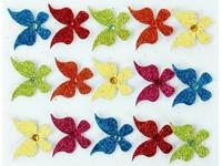 Samolepky dekorační brokátové 3D motýlci 2 DP
