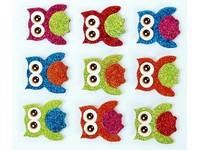 Samolepky dekorační brokátové 3D sovy DP