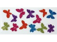 Samolepky dekorační brokátové 3D motýlci DP