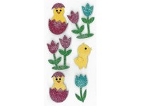 Samolepky dekorační brokátové 3D kuřátka a tulipány DP