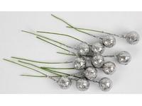 Cesmína ovoce 12 cm stříbrné glitter DP