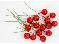 Cesmína ovoce 12 cm červené glitter DP