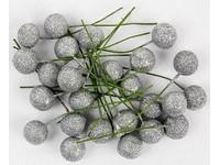 Cezmína ovocie 12 cm strieborná glitter
