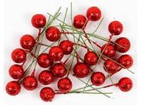 Cesmína ovoce 12 cm červené glitter