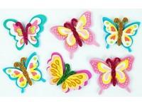 Samolepky z pěny 3D brokátové motýli DP