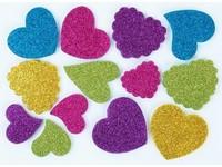 Samolepky z pěny brokátové srdce DP